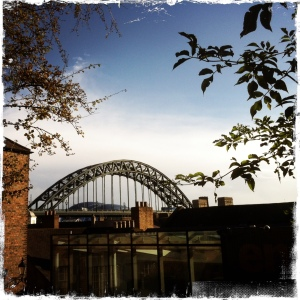 Unusual view of Tyne bridge and the sage from the Vermont steps