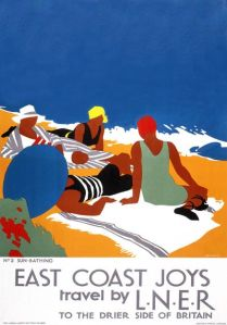 Poster produced by London & North Eastern Railway (LNER) to promote rail travel to the East coast of England. This poster, entitled 'Sun Bathing', was second in a series of six posters illustrating the various pastimes that could be enjoyed on the east coast. The posters formed a continuous scene when placed next to each other, but each was designed so that it could also stand alone. Artwork by Tom Purvis (1888-1957), who rallied for the profesionalisation of commercial art. In 1930 he was one of the group of artists who founded the Society of Industrial Artists, which campaigned for improved standards of training for commercial artists in order to broaden their scope of employment.